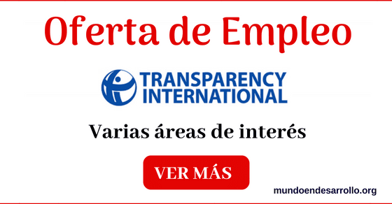 Ofertas de empleo en Transparency International en varias áreas