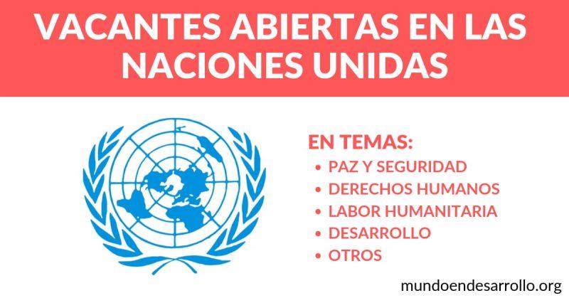 vacantes abiertas en las naciones unidas